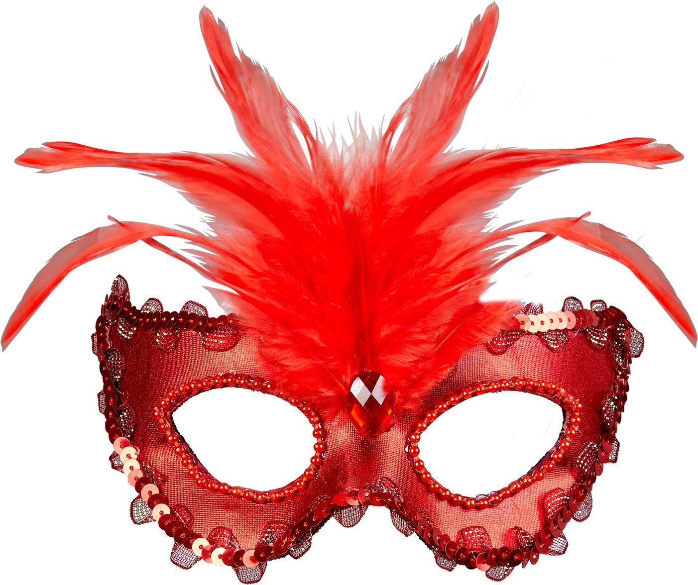 Rood venetiaans oogmasker met veren