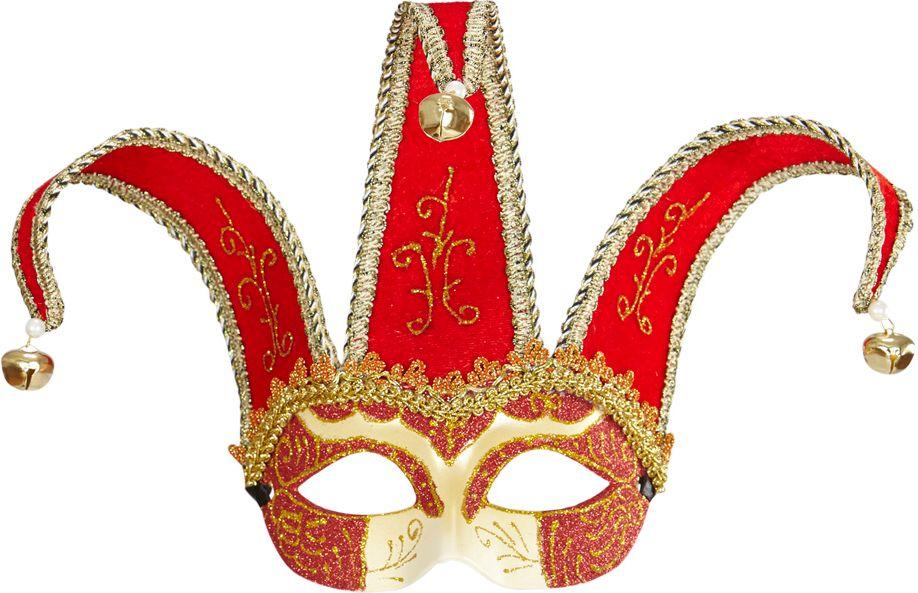 Rood venetiaanse Joker oogmasker