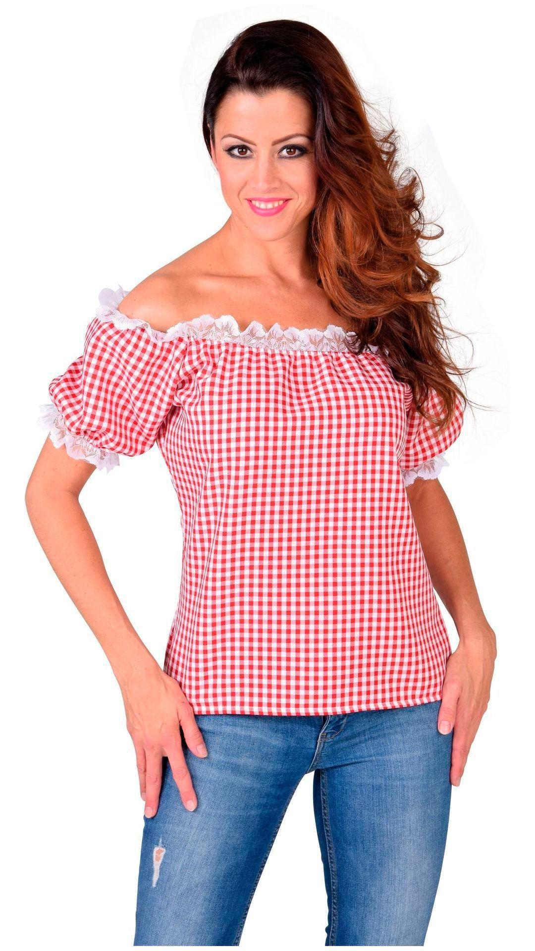 Rood wit geruit blousje oktobervest vrouwen