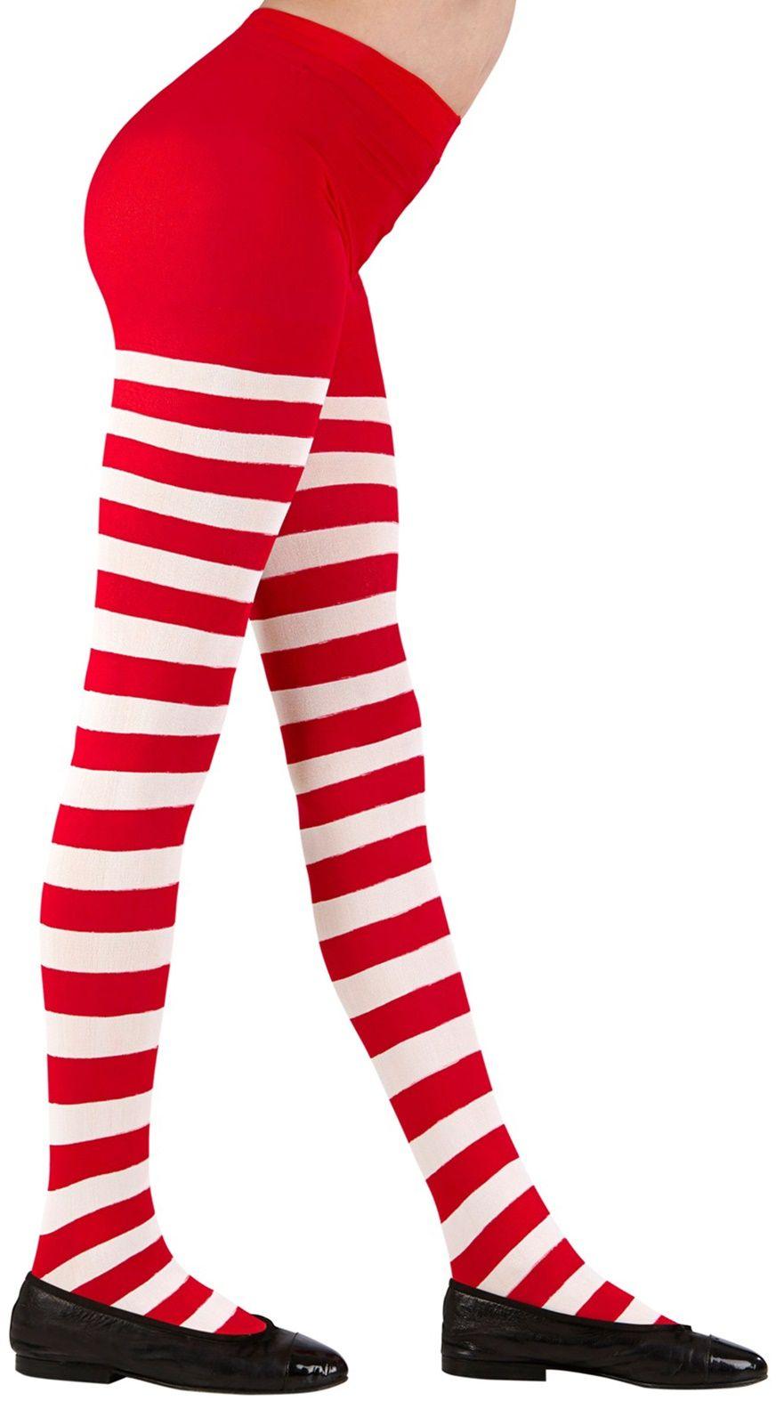 Rood wit gestreepte kinder panty