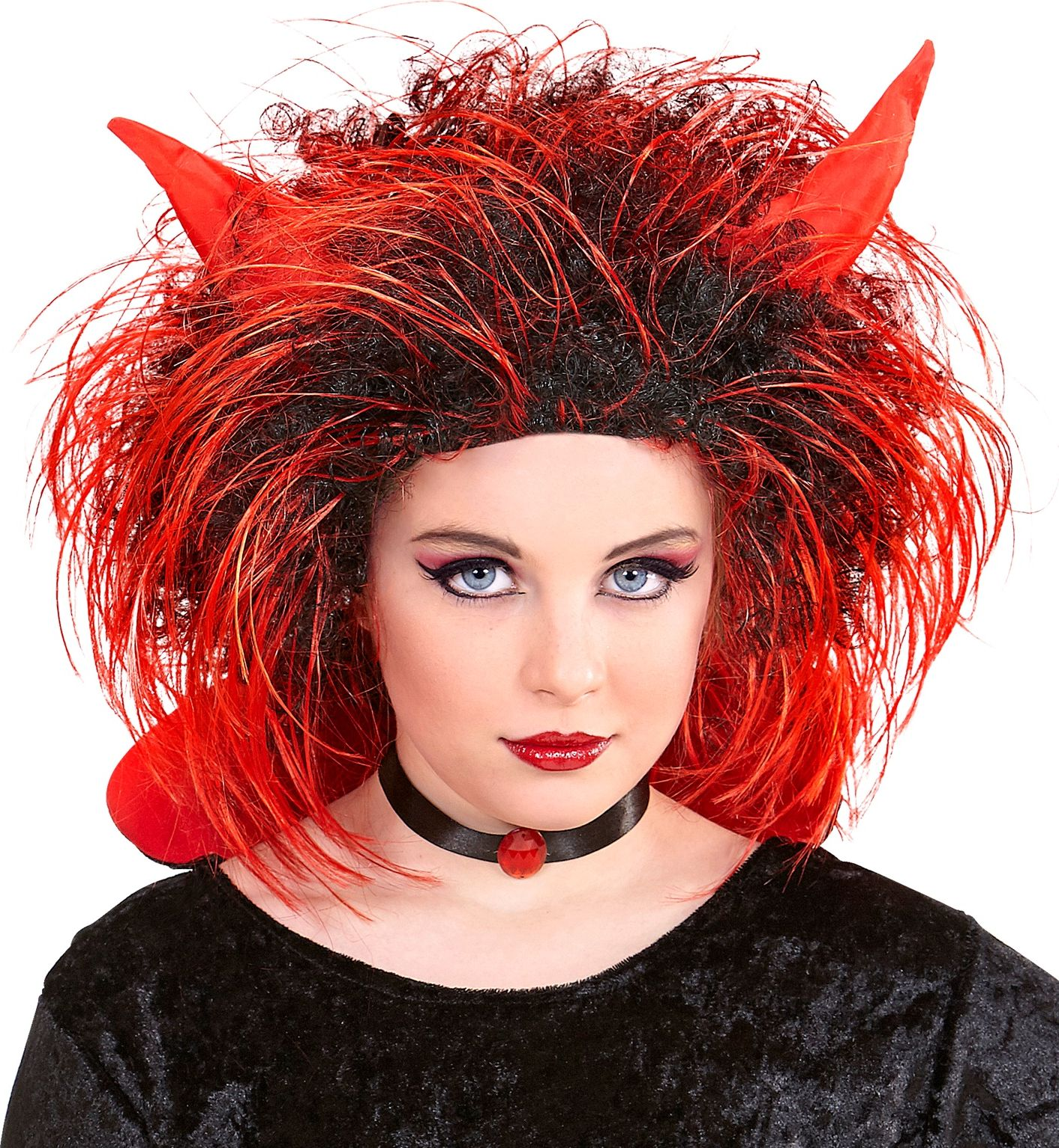 Rood zwarte duivel pruik