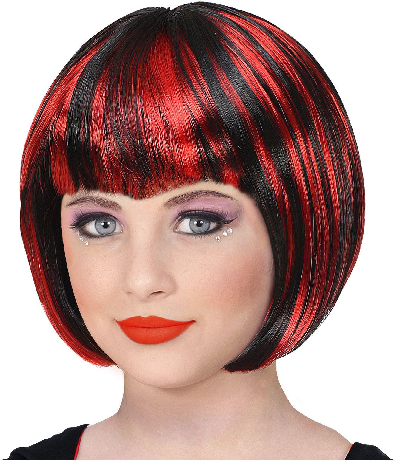 Rood zwarte pruik meisjes vampier