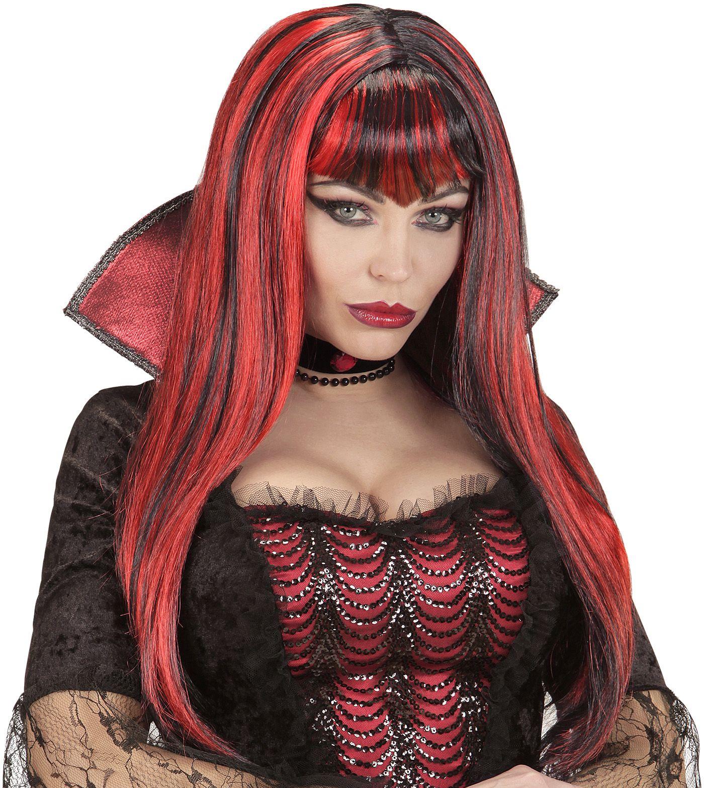 Rood zwarte vampier pruik