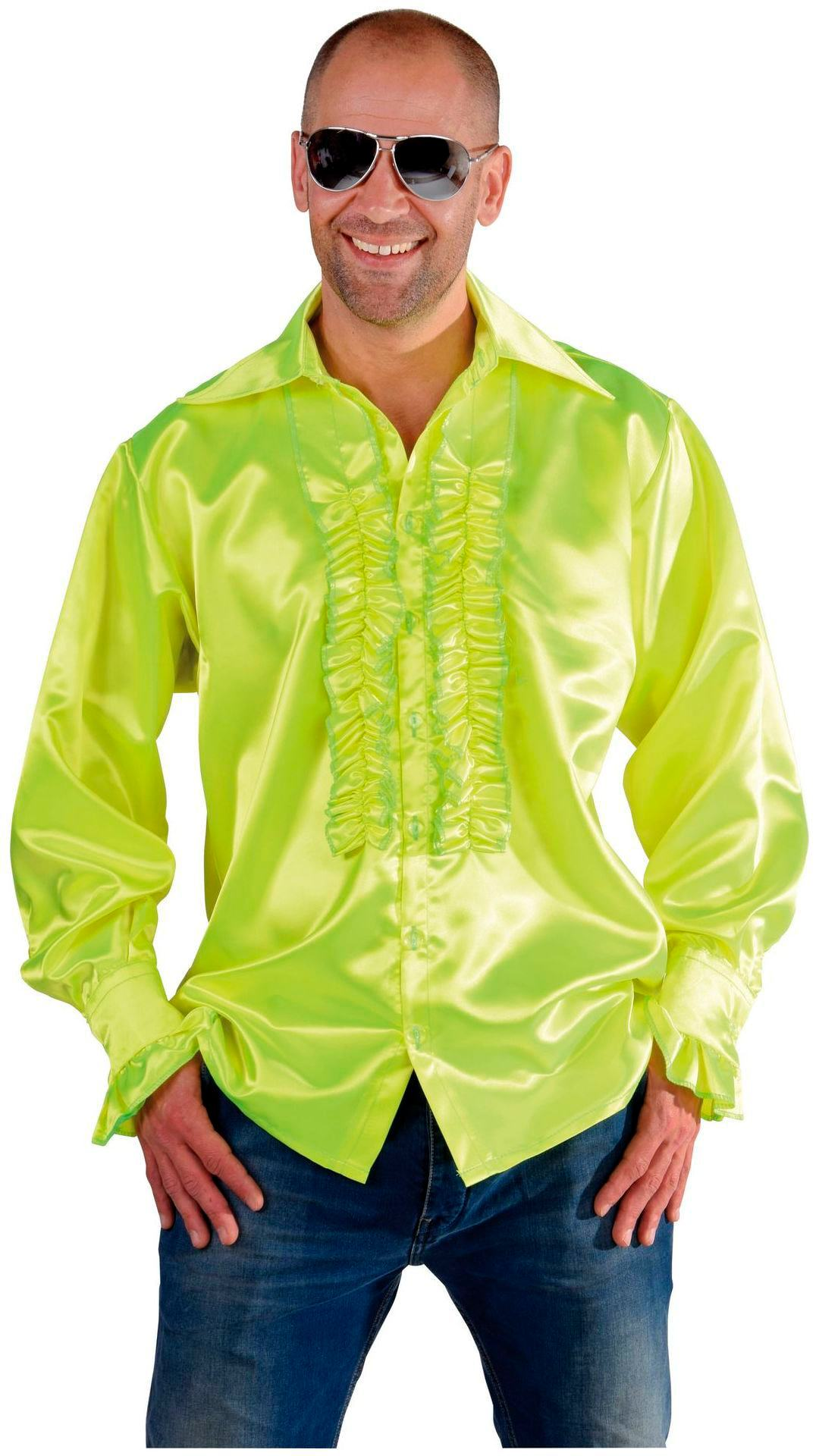 Rouche blouse luxe lichtgroen man