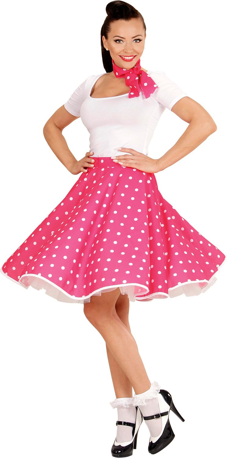 Roze 50s rok met nekband