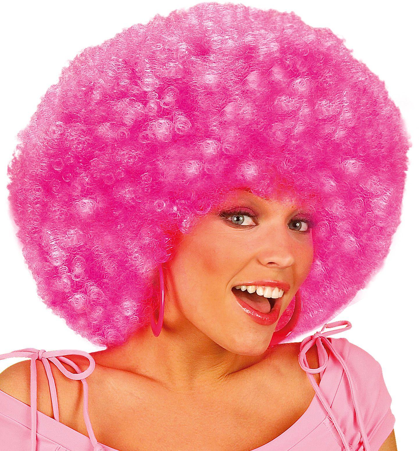 Roze afro pruik met krullen