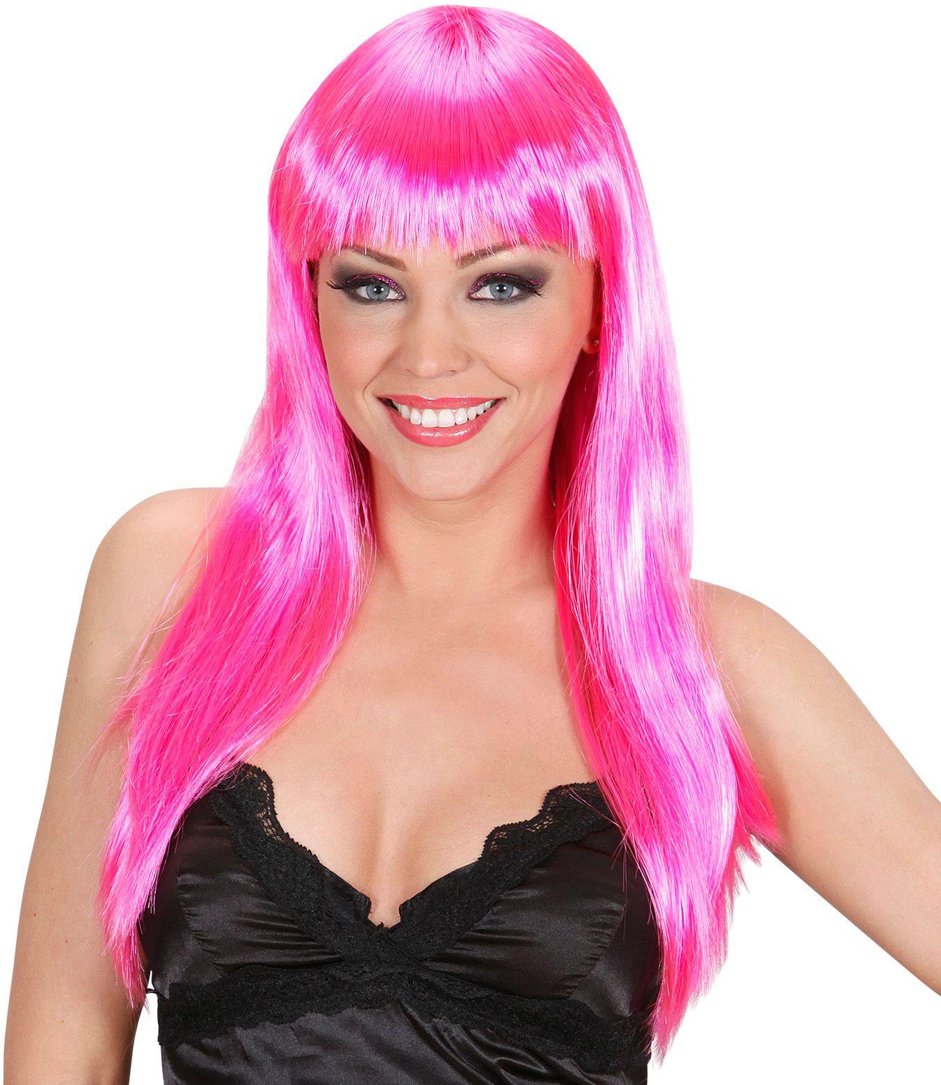 Roze beauty pruik lang haar