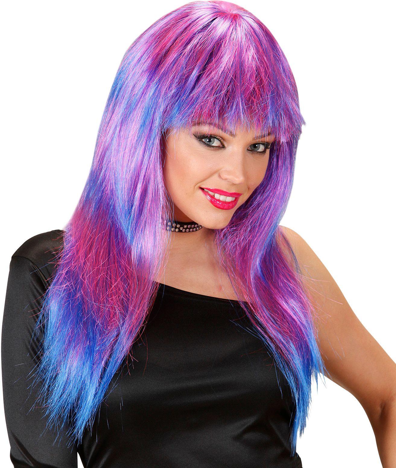Roze-blauw gestreepte pruik lang haar