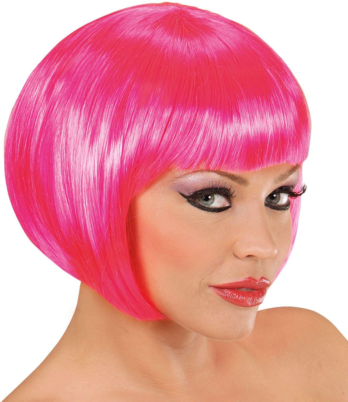 Roze boblijn pruik