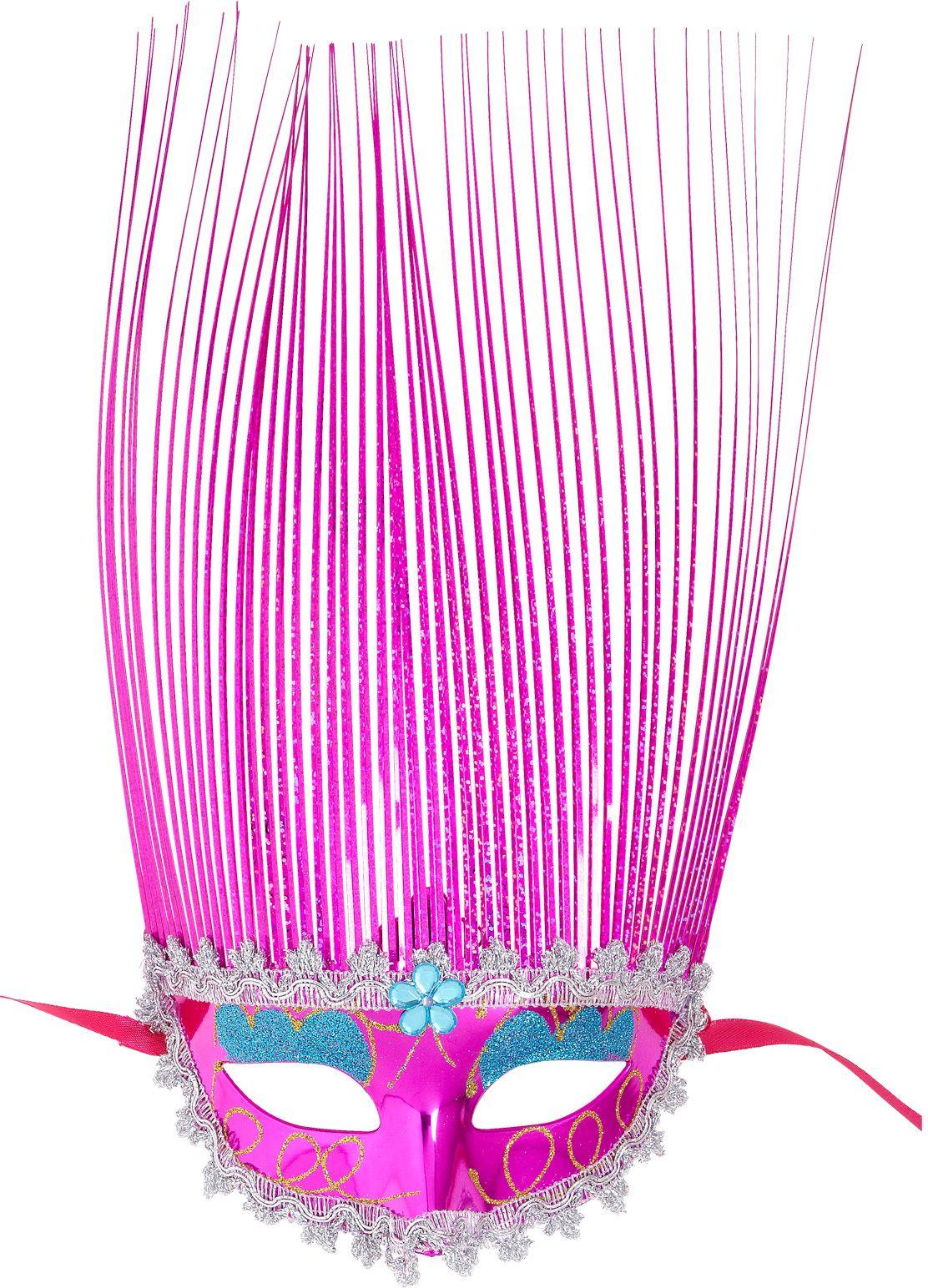 Roze carnival oogmasker met kuif