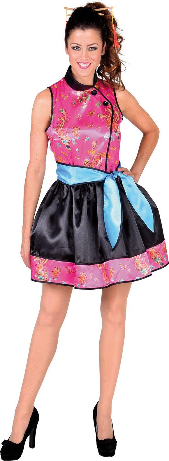 Roze Chinese carnavals jurk dames
