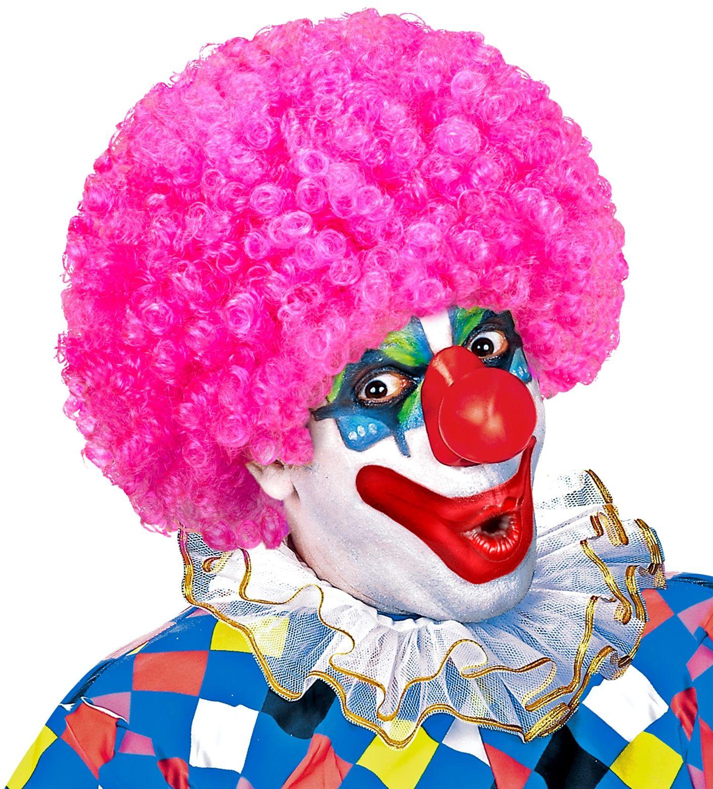 Roze clowns pruik