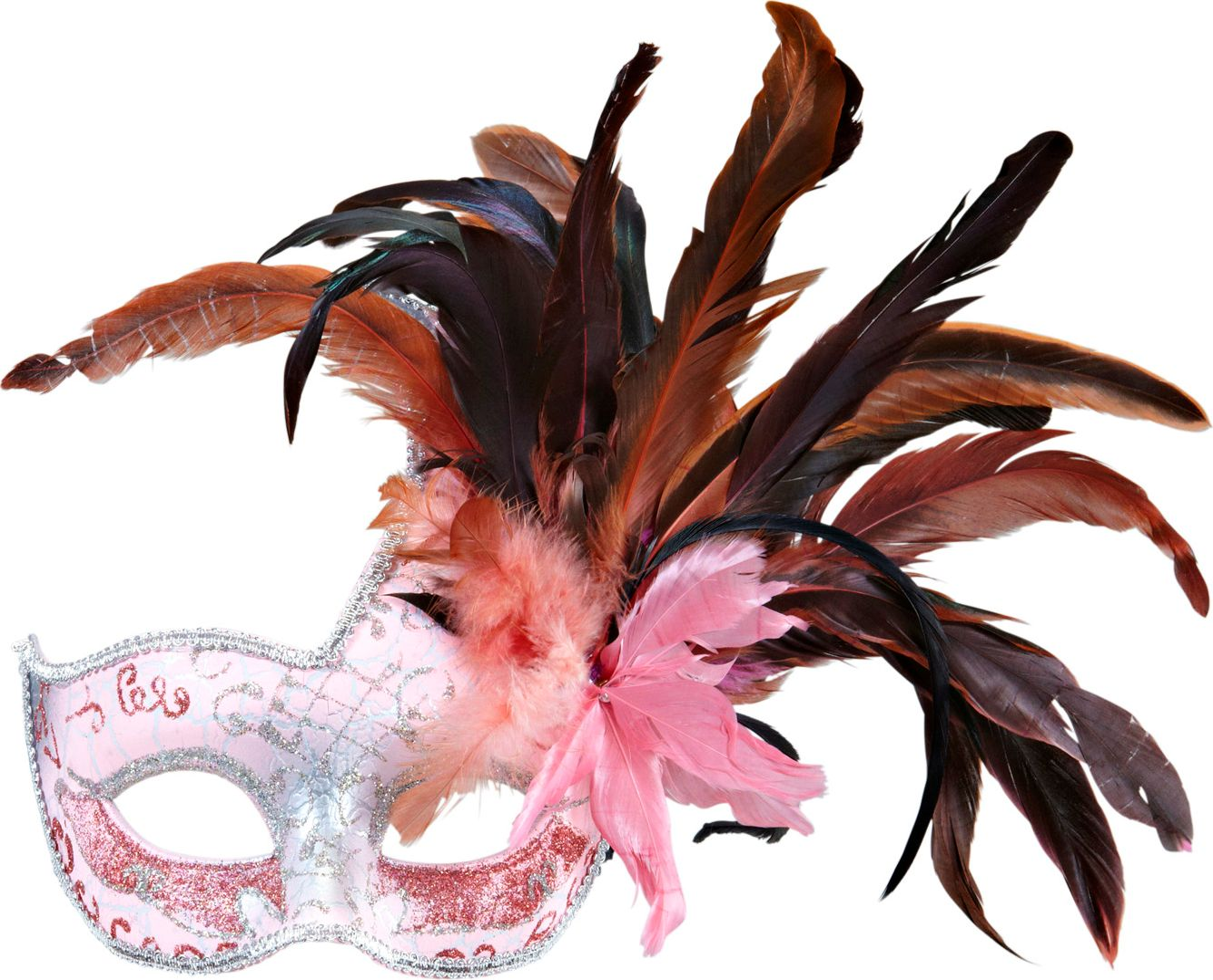 Roze colombina veren masker