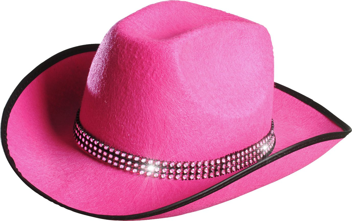 Roze cowgirl hoed met strass band