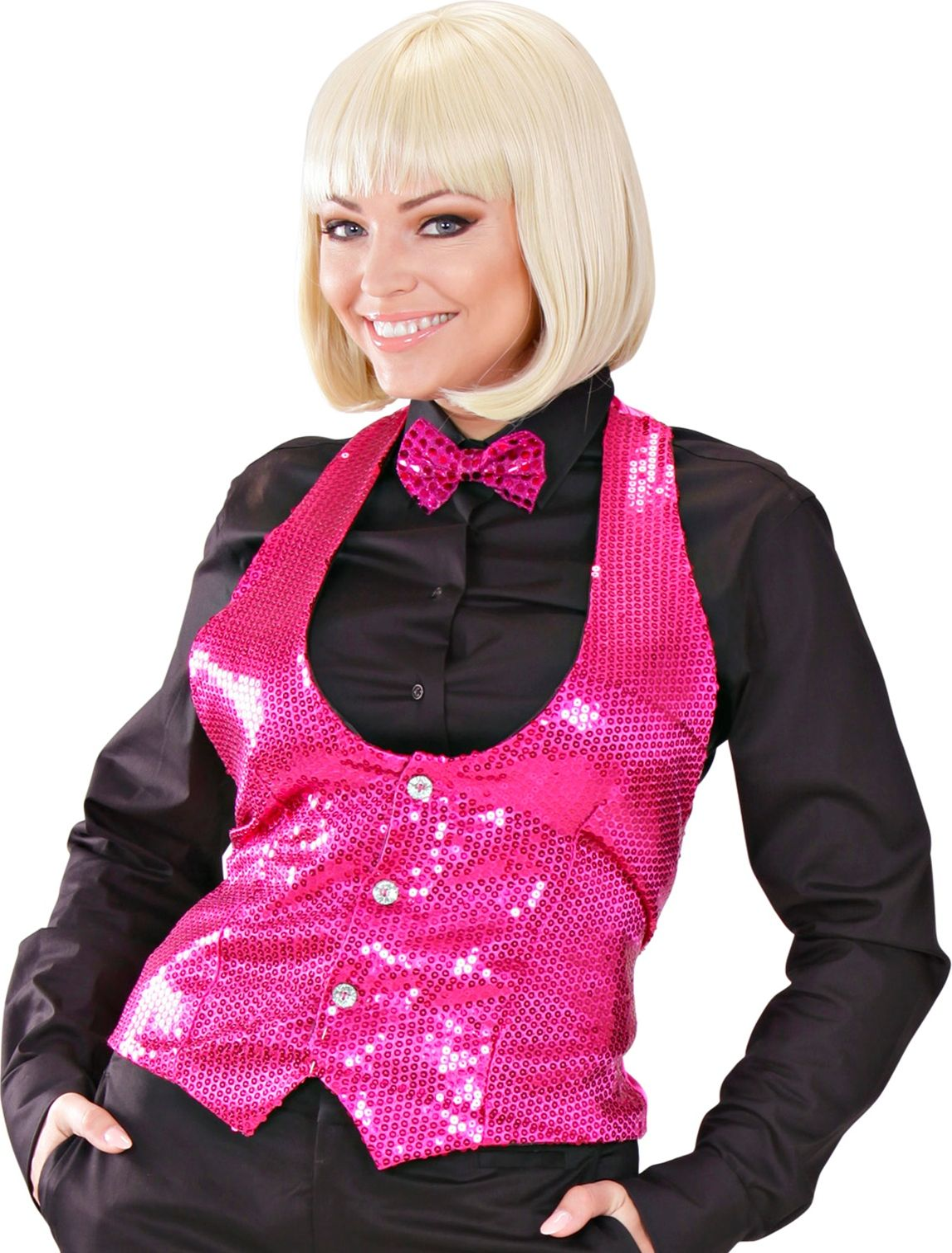 Roze dames vest met pailletten