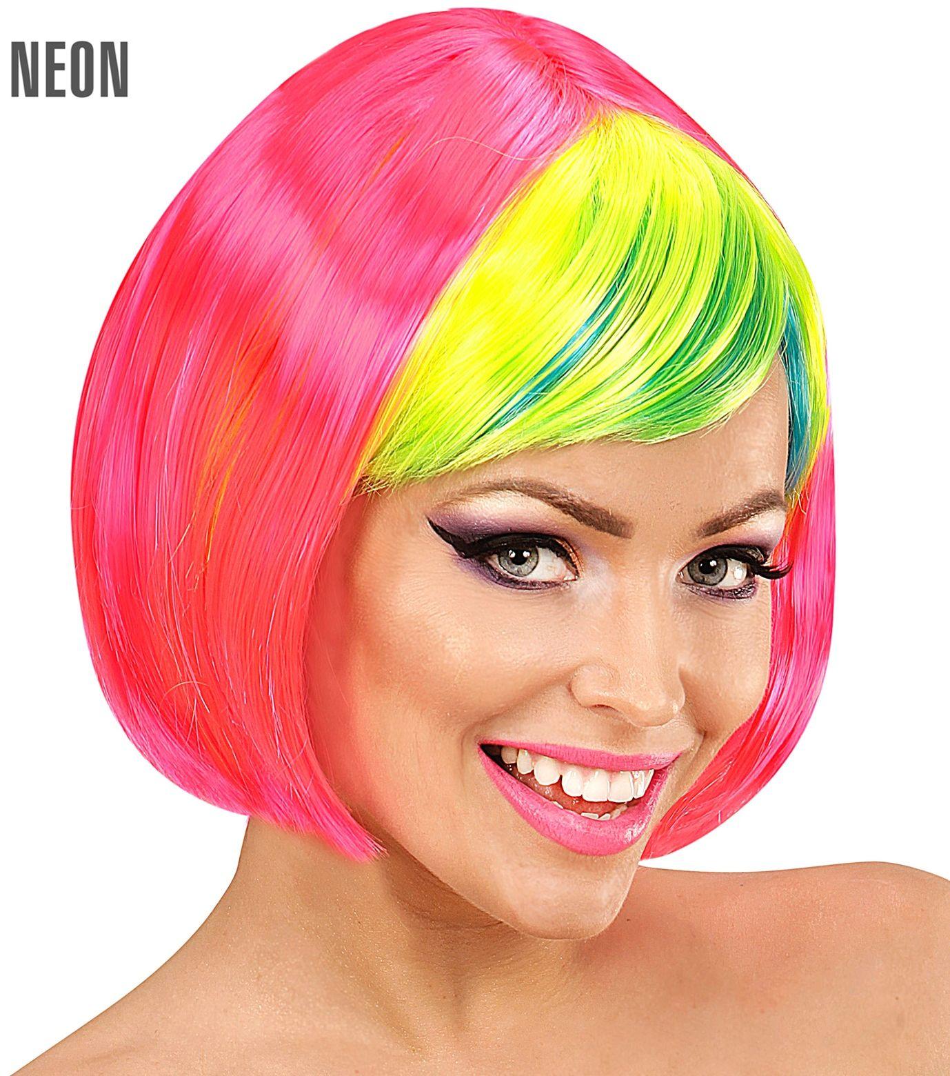 Roze disco pruik met groene pony