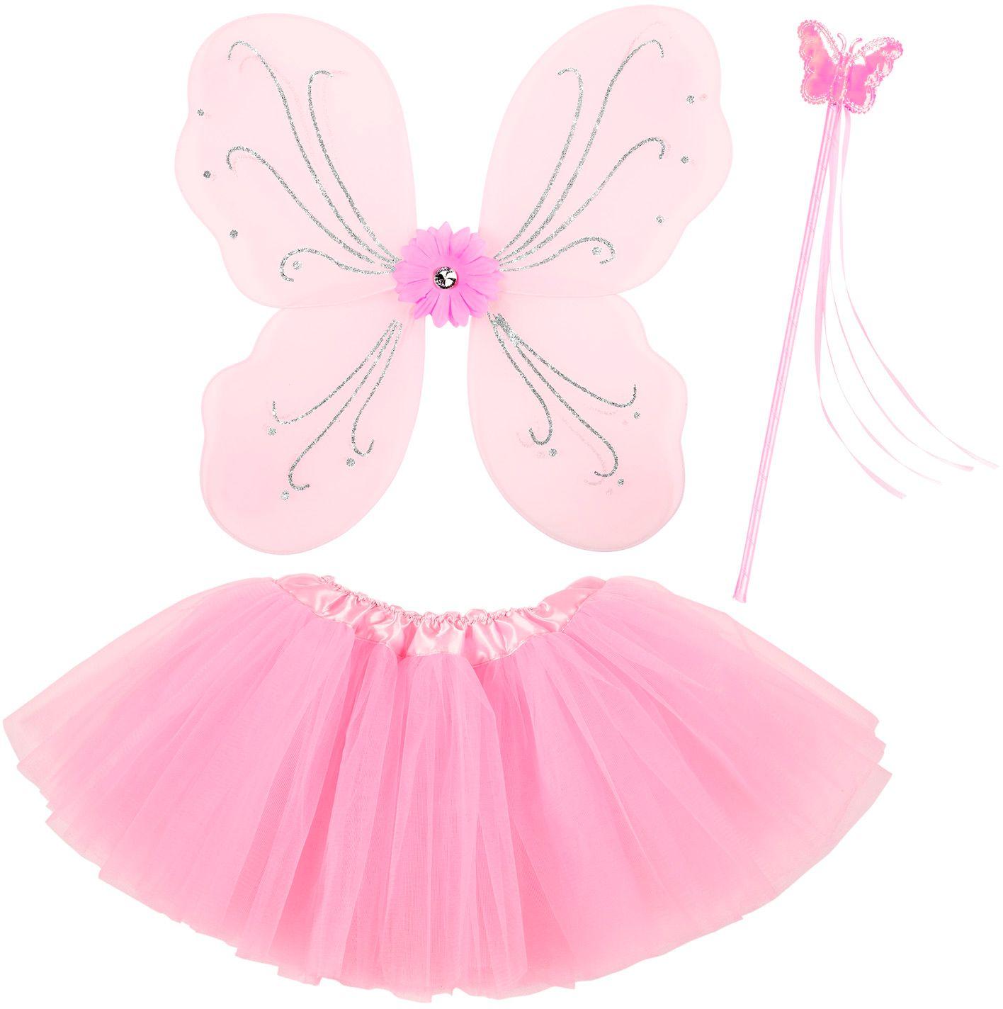 Roze feeën vleugels met tutu en toverstaf