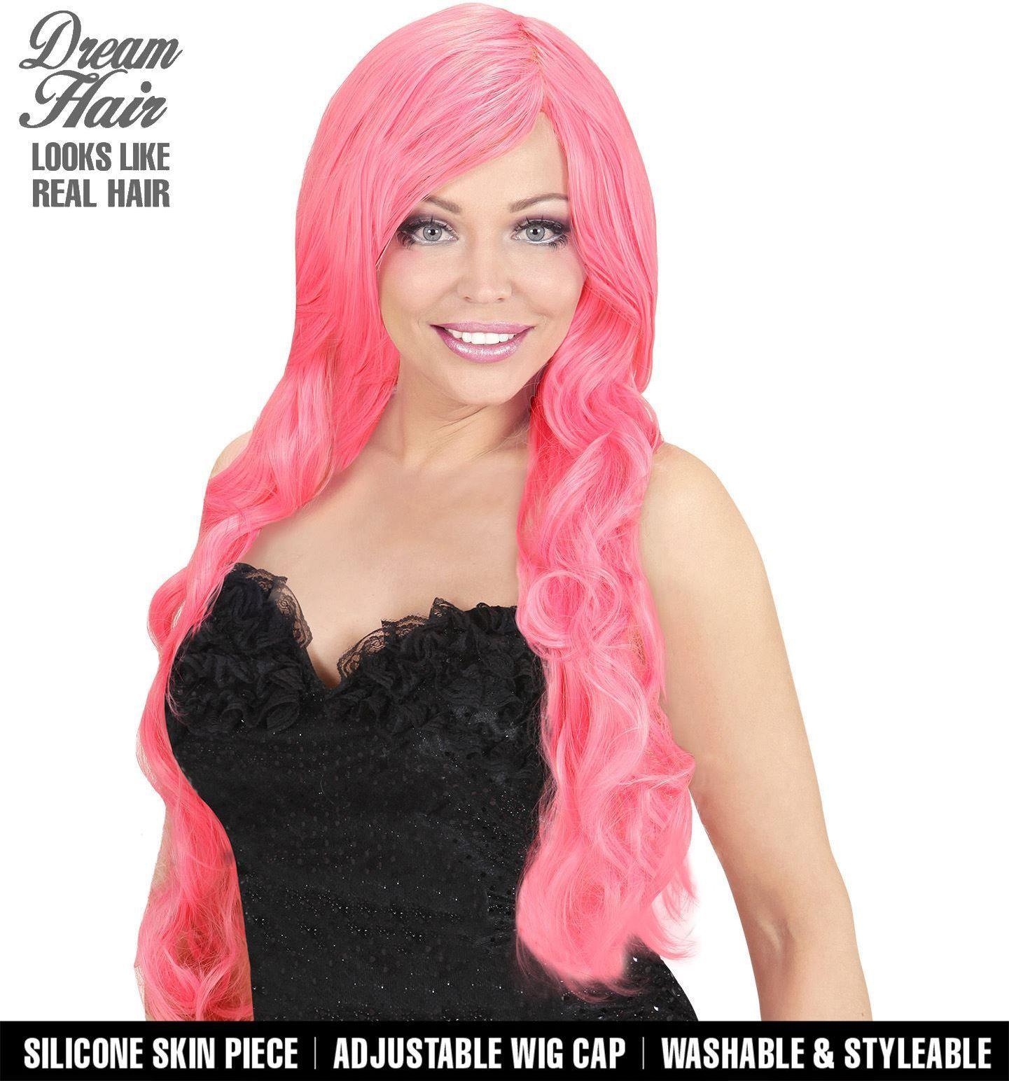 Roze gekrulde pruik