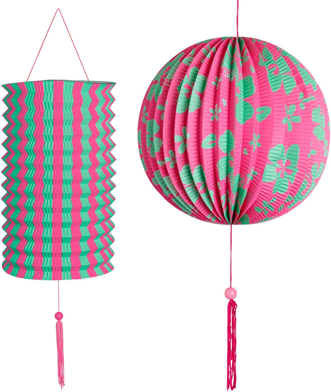 Roze groene papieren bal met lantaarn