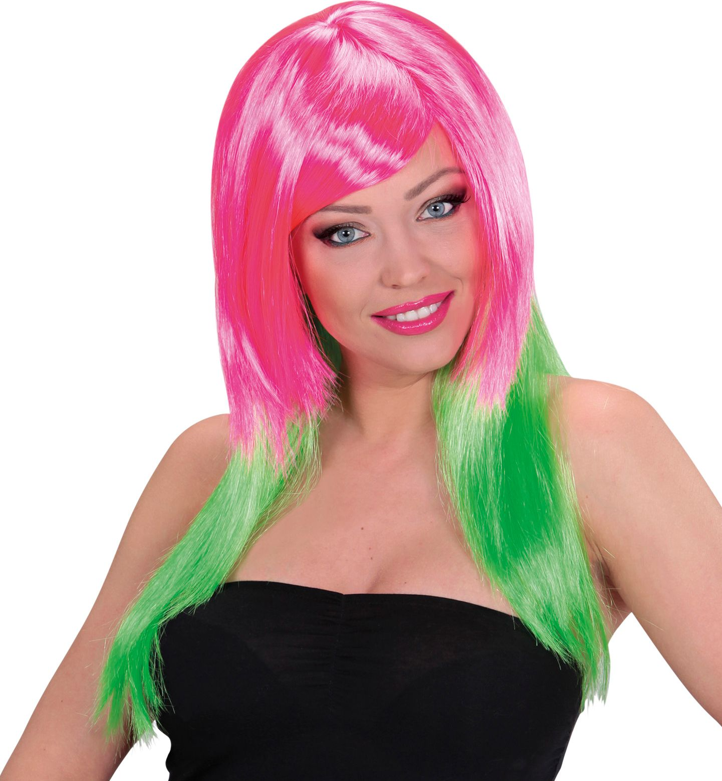 Roze-groene pruik lang haar