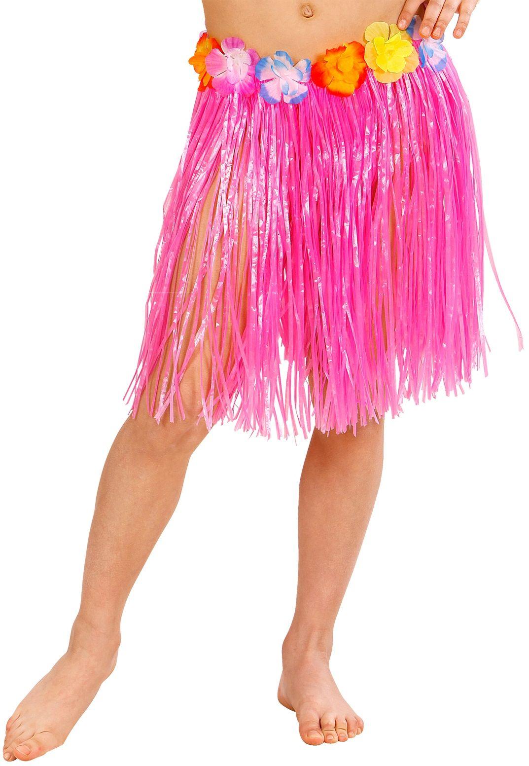 Roze Hawaii rok met bloemenriem