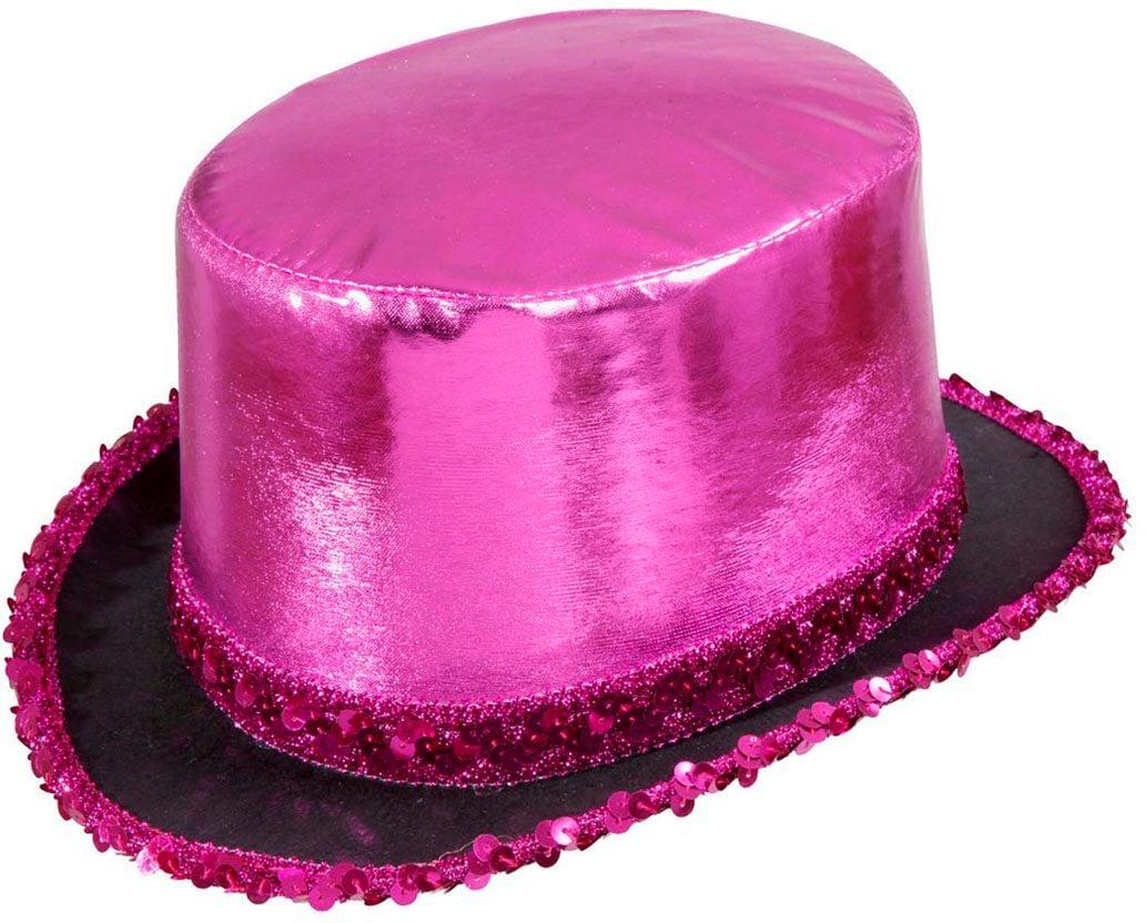 Roze hoge hoed met pailletten rand