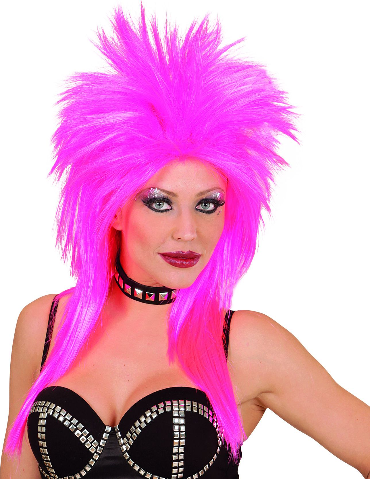 Roze jaren 80 rockster pruik
