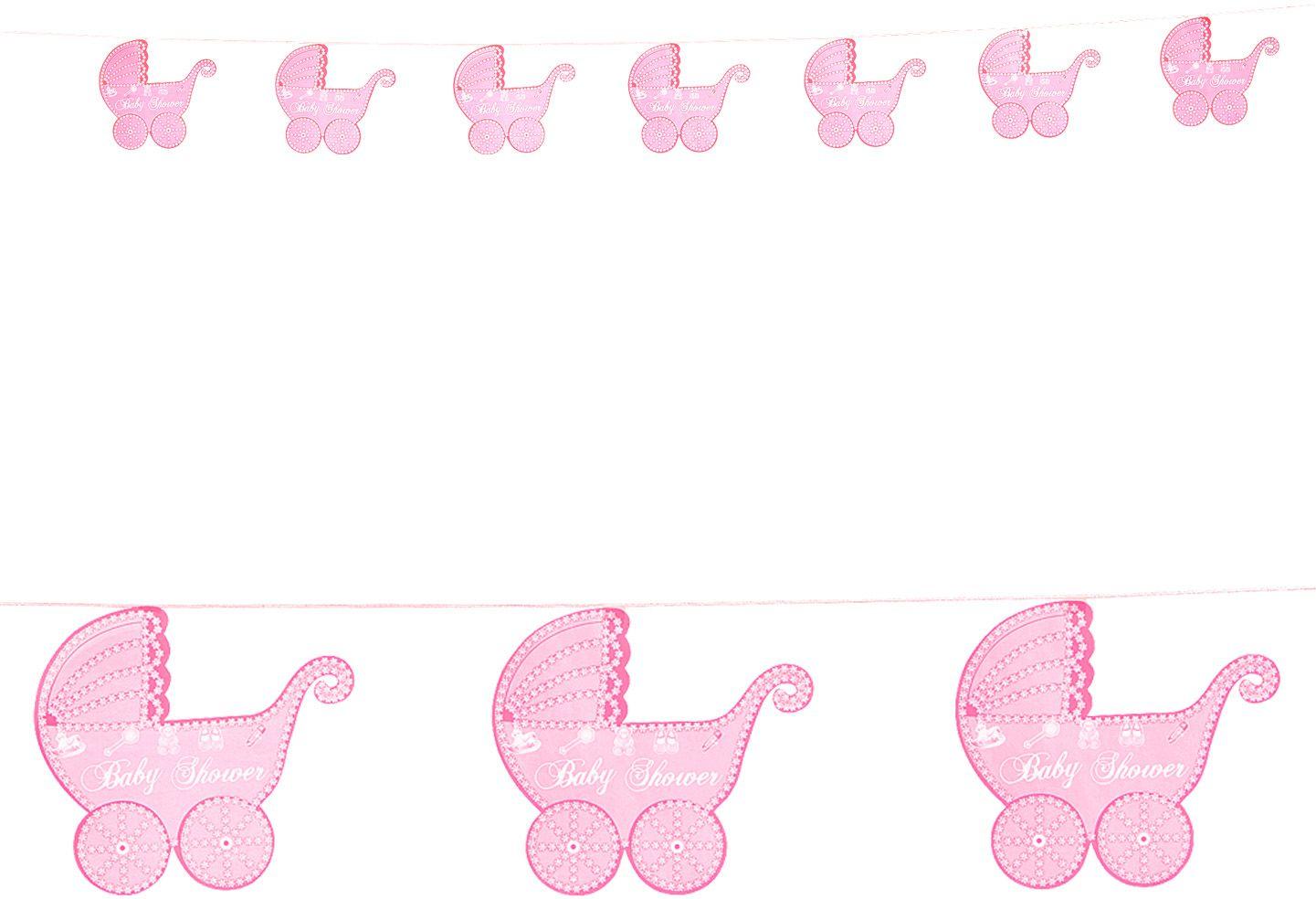 Roze kinderwagen slingers