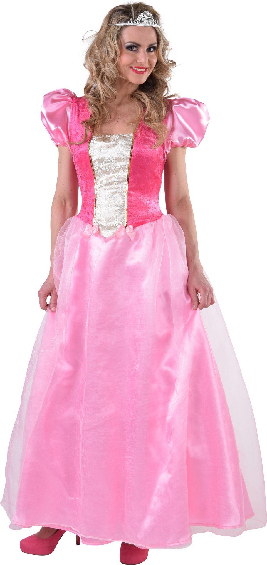 Roze lange prinses jurk