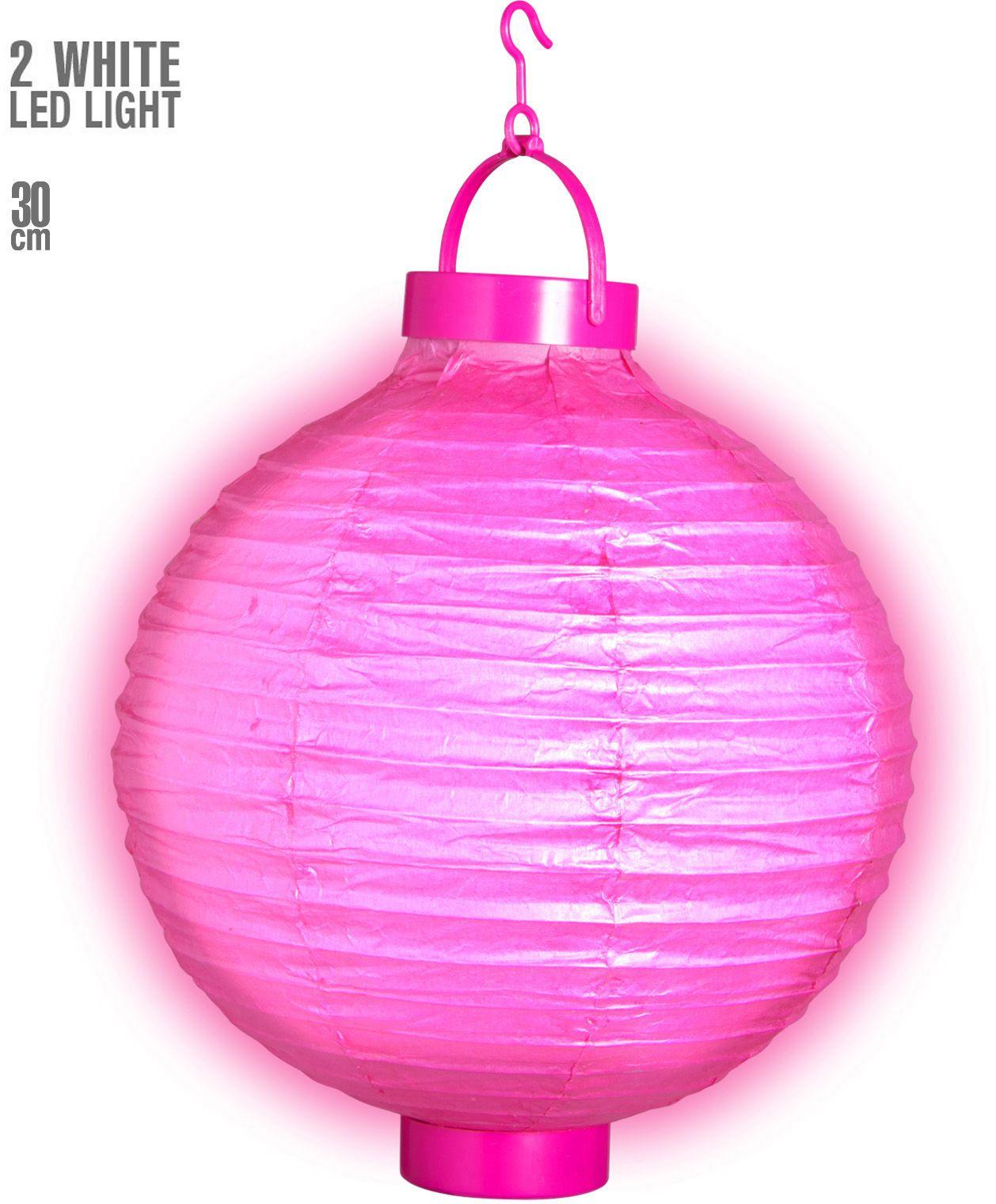 Roze lantaarn met 2 witte LED lichten