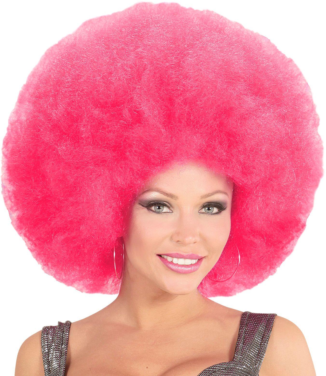Roze maxi afro pruik