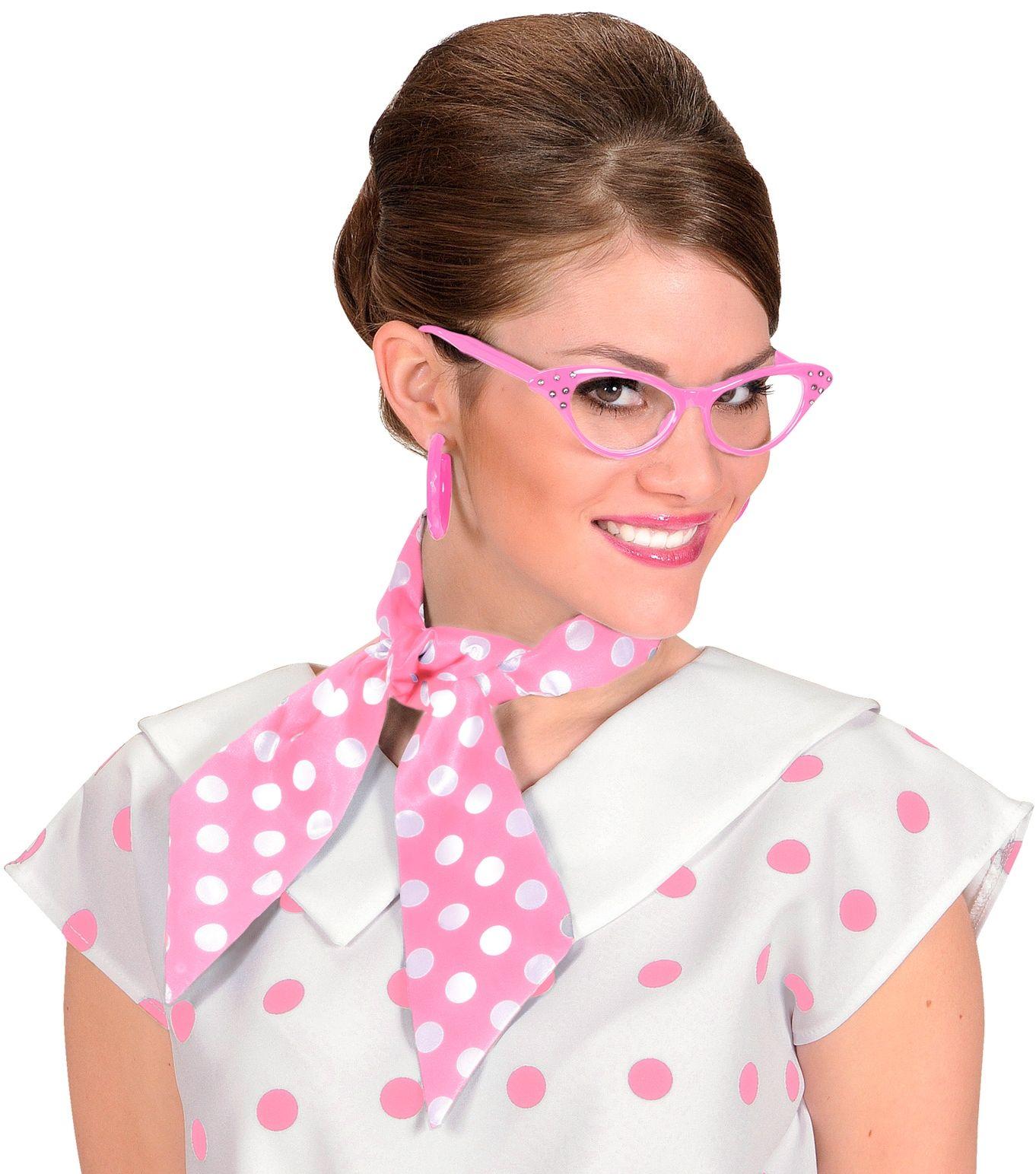 Roze met witte stippen 50s sjaal