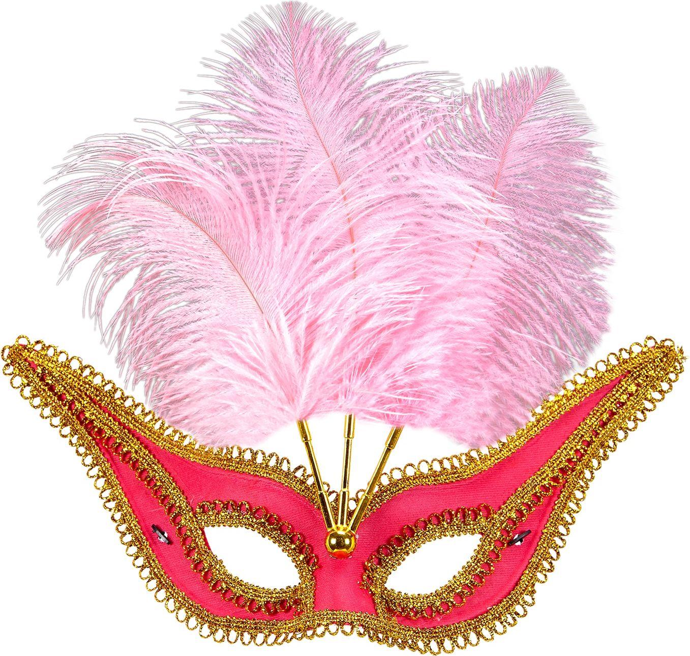Roze oogmasker met gouden rand en veren
