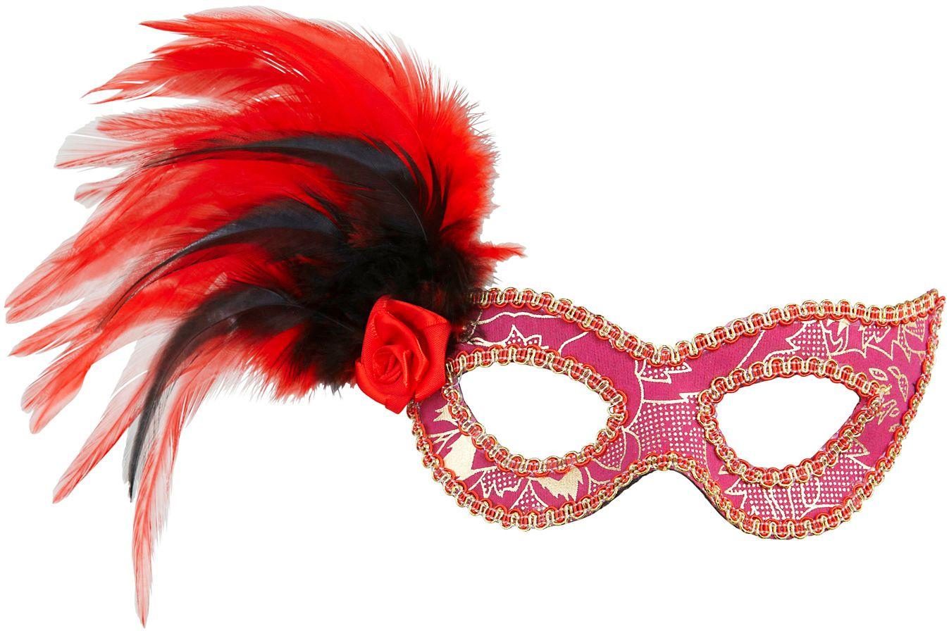 Roze oogmasker met roos en veren