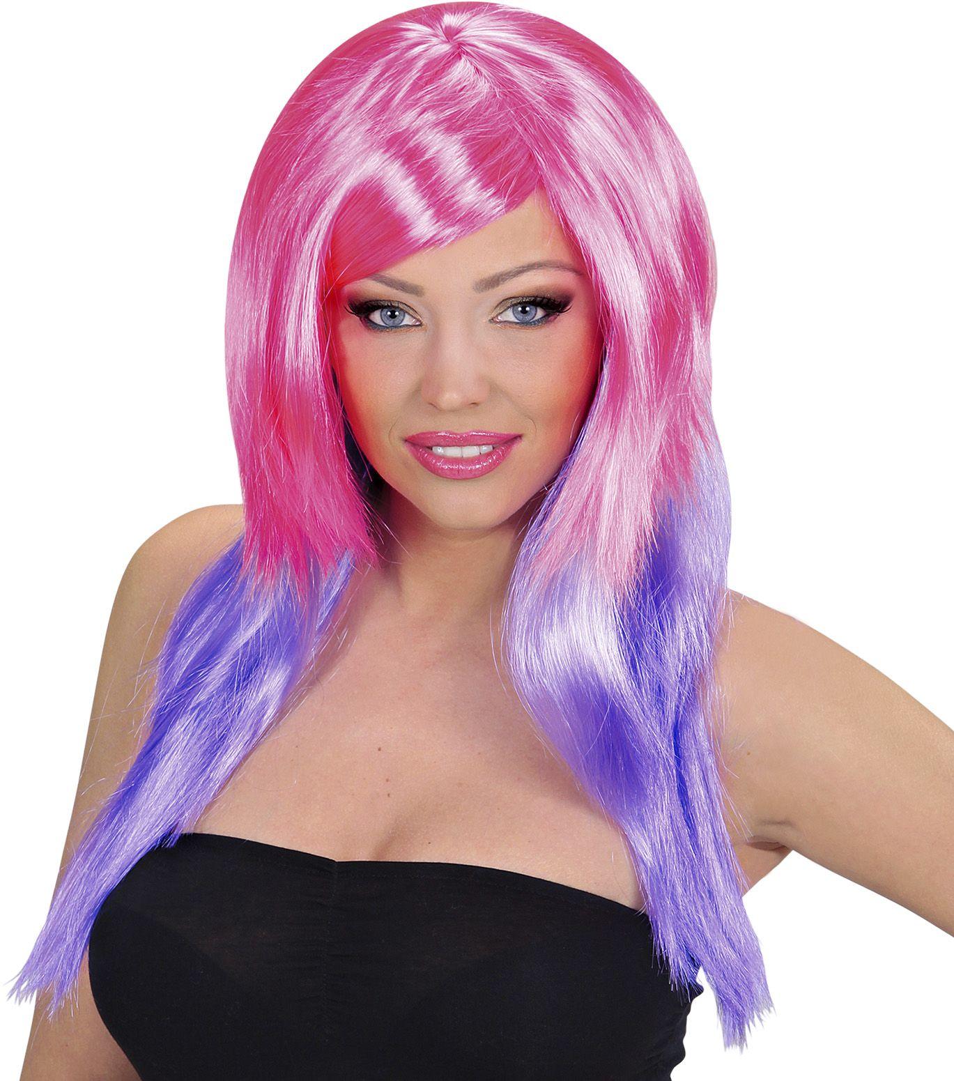 Roze-paarse pruik lang haar