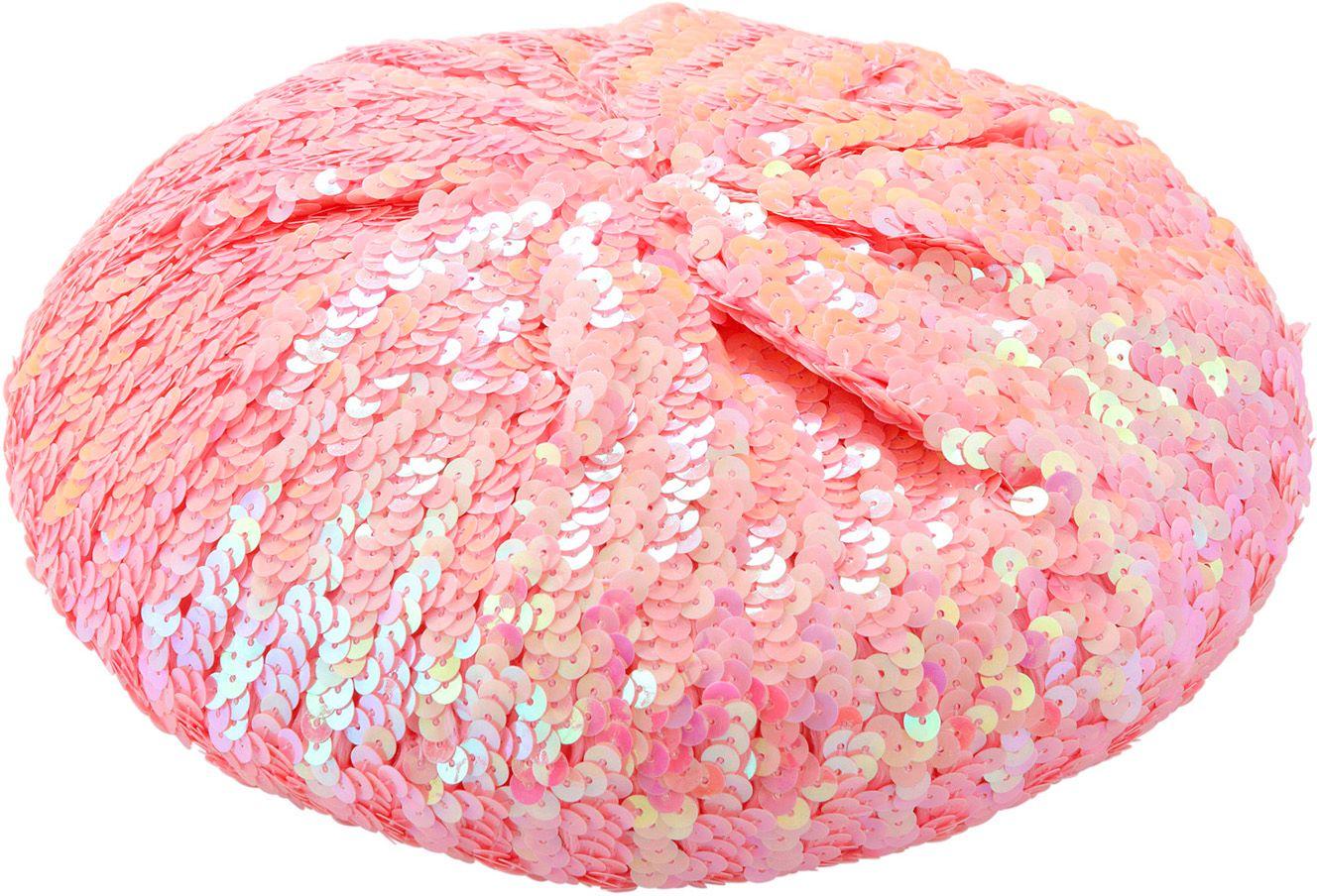 Roze pailletten basco muts