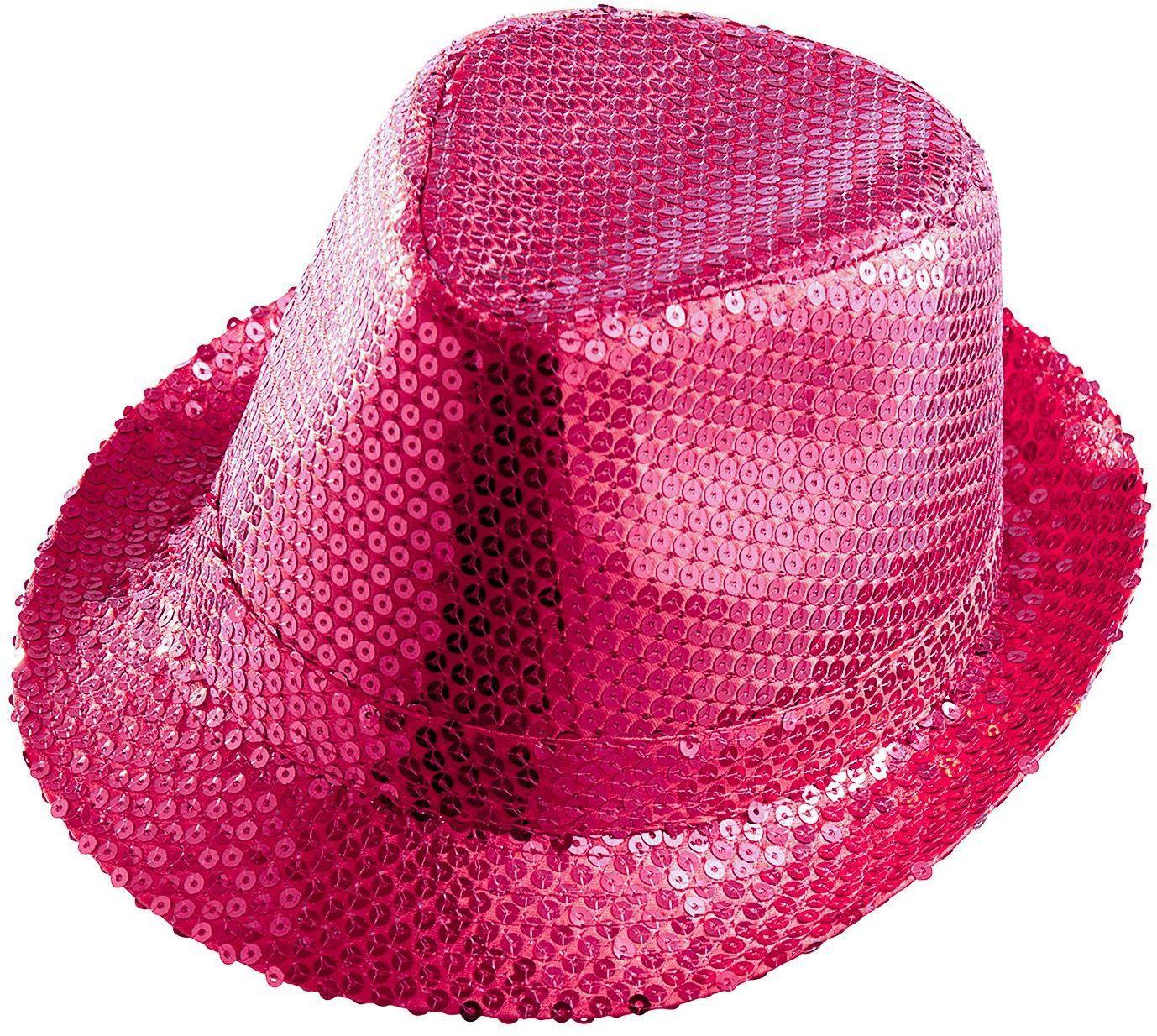 Roze pailletten fedora
