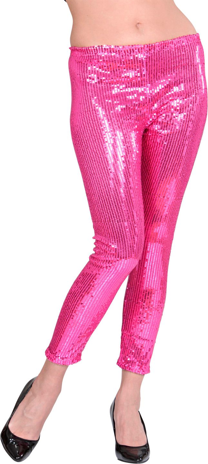 Roze pailletten legging