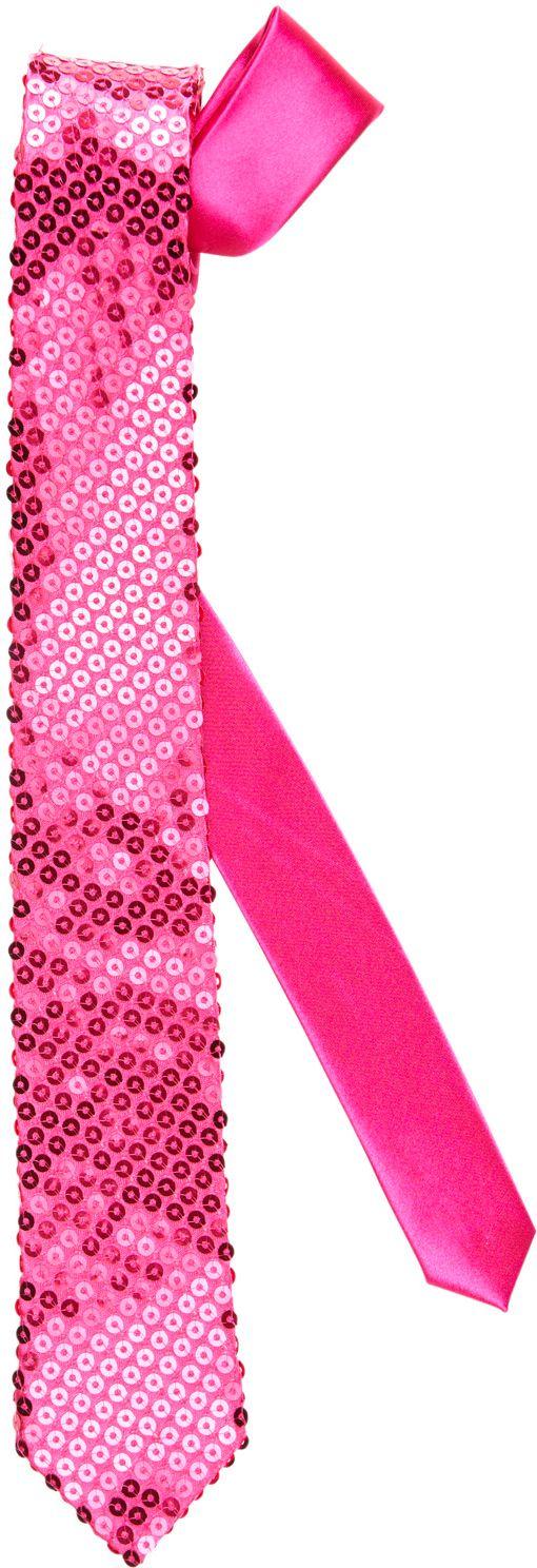 Roze pailletten stropdas