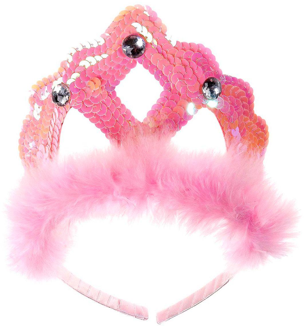 Roze pailletten tiara met veren