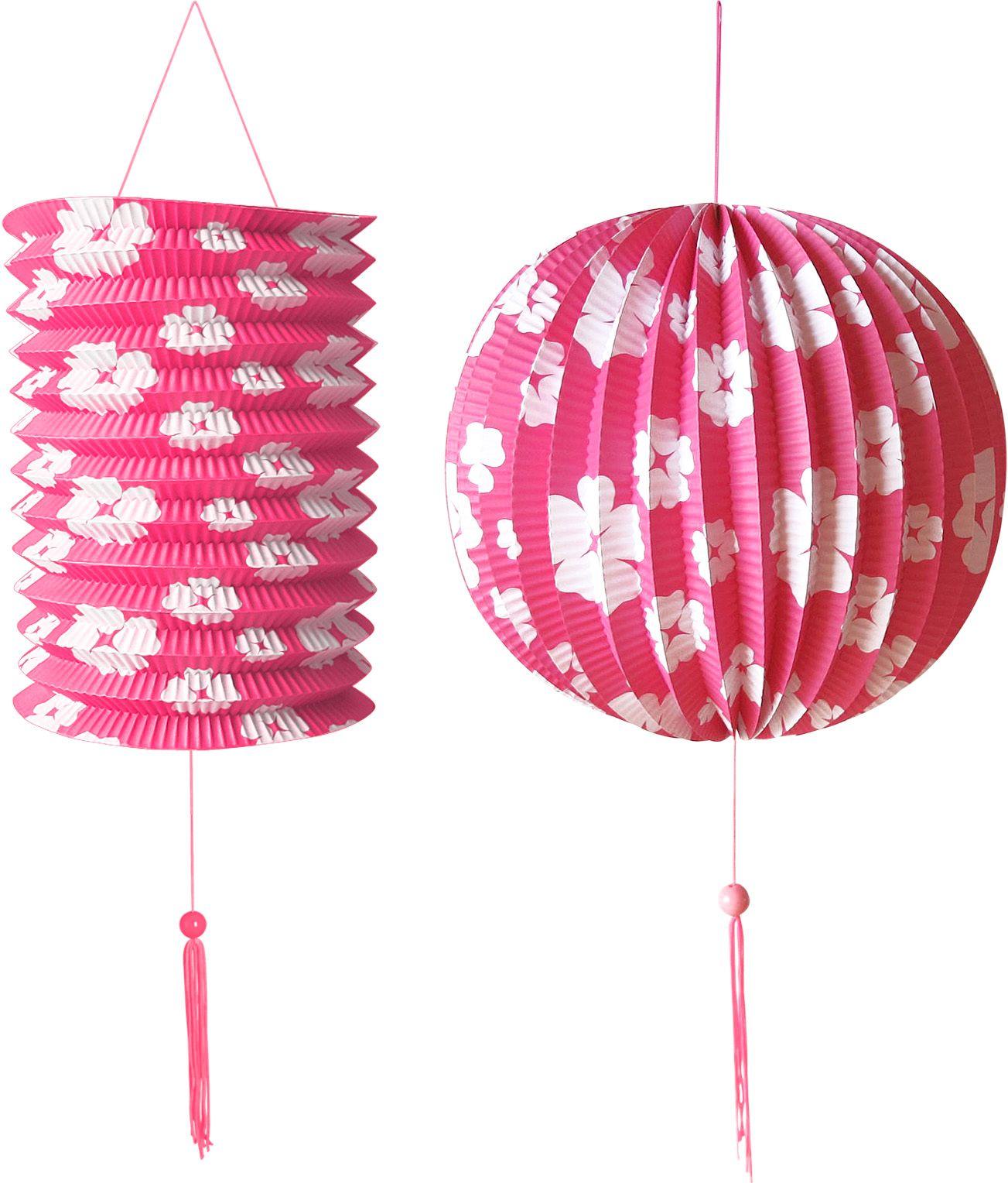 Roze papieren bal en lantaarn