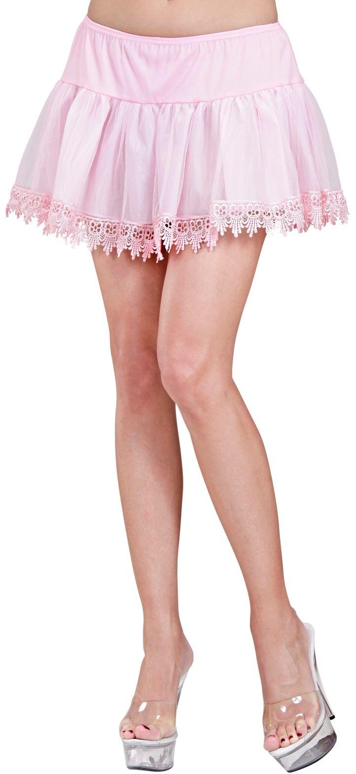 Roze petticoat met franje