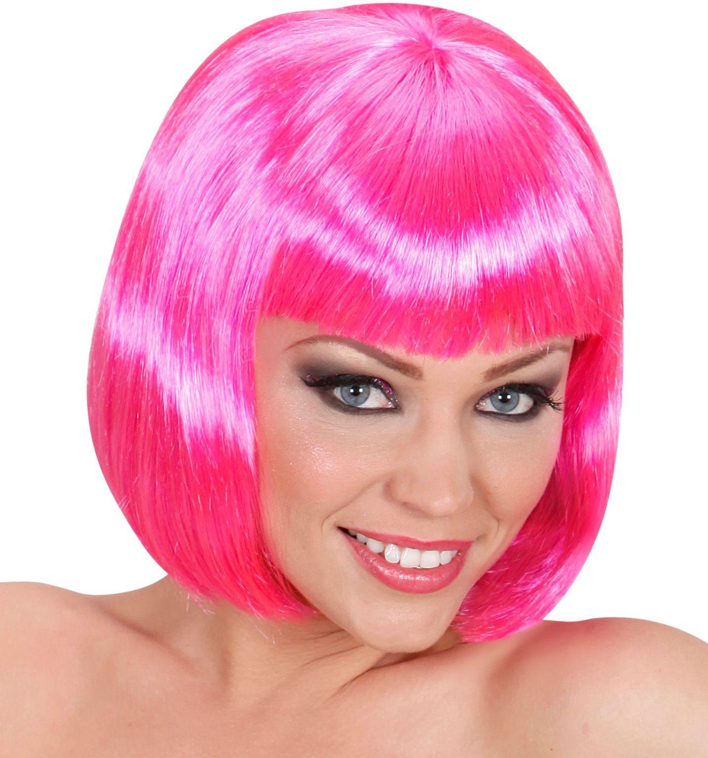 Roze pruik kort haar
