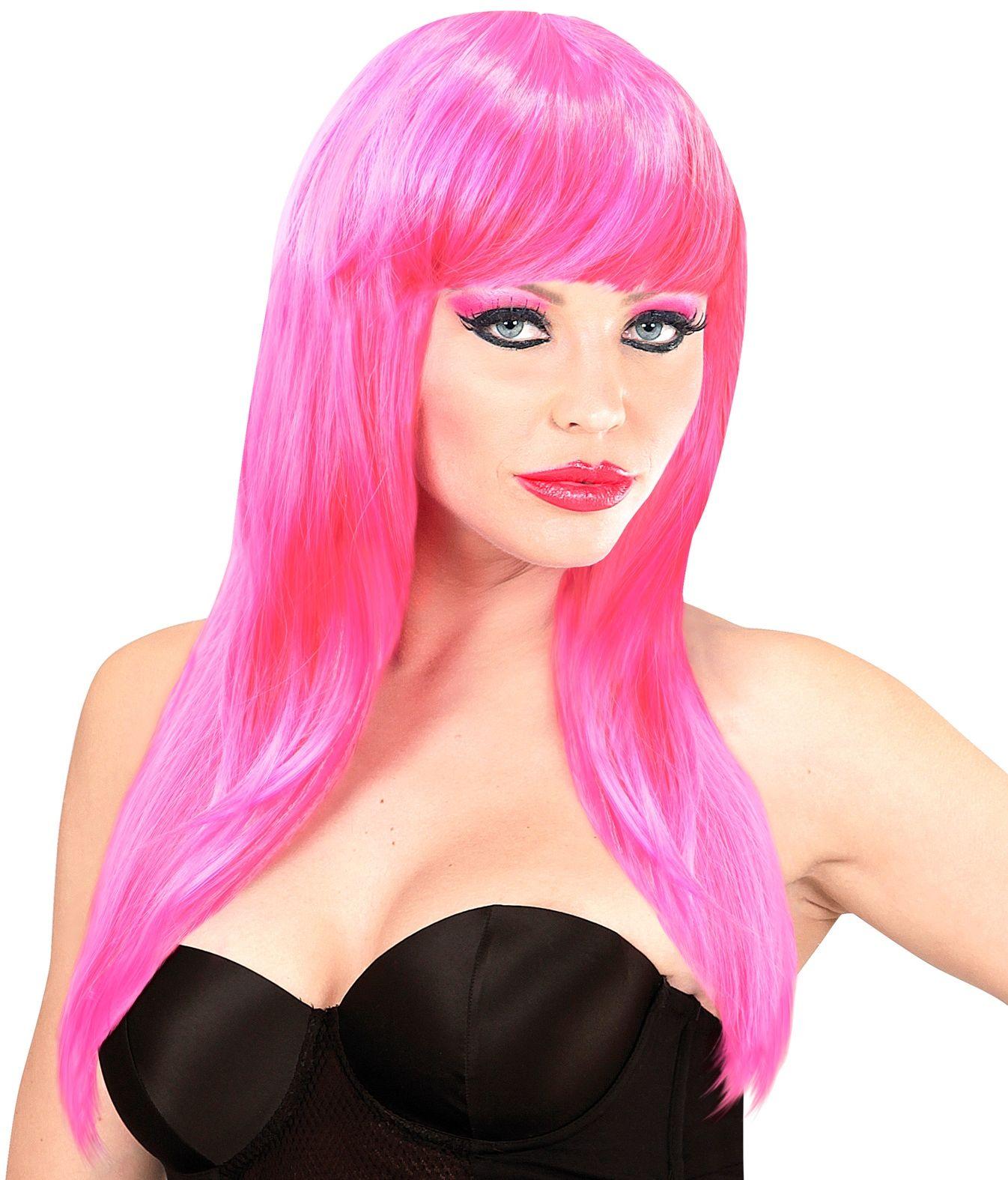 Roze pruik lang haar