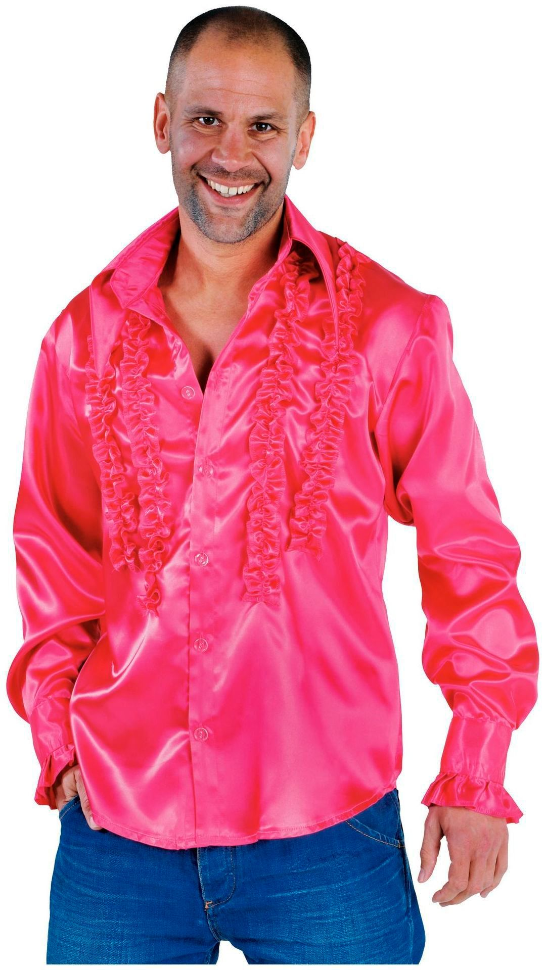 Roze ruches blouse heren