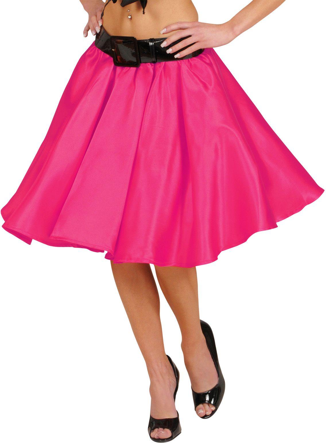 Roze satijnen rok met petticoat