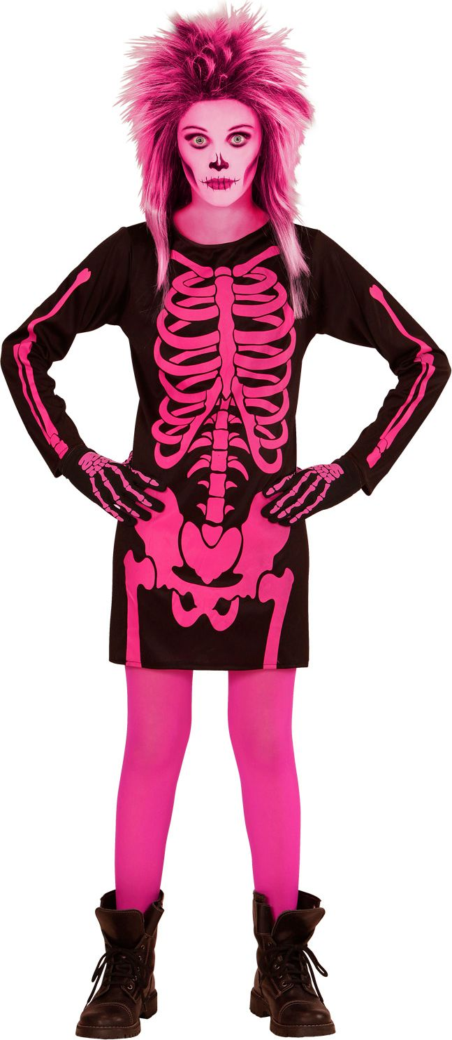 Roze skelet kind kostuum