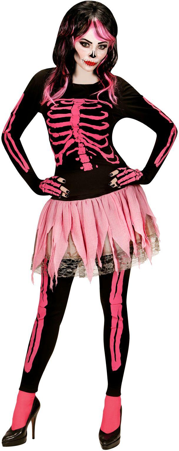 Roze skelet kostuum