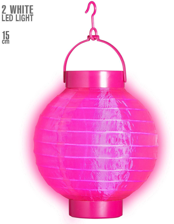 Roze stoffen lantaarn met 2 witte lichten