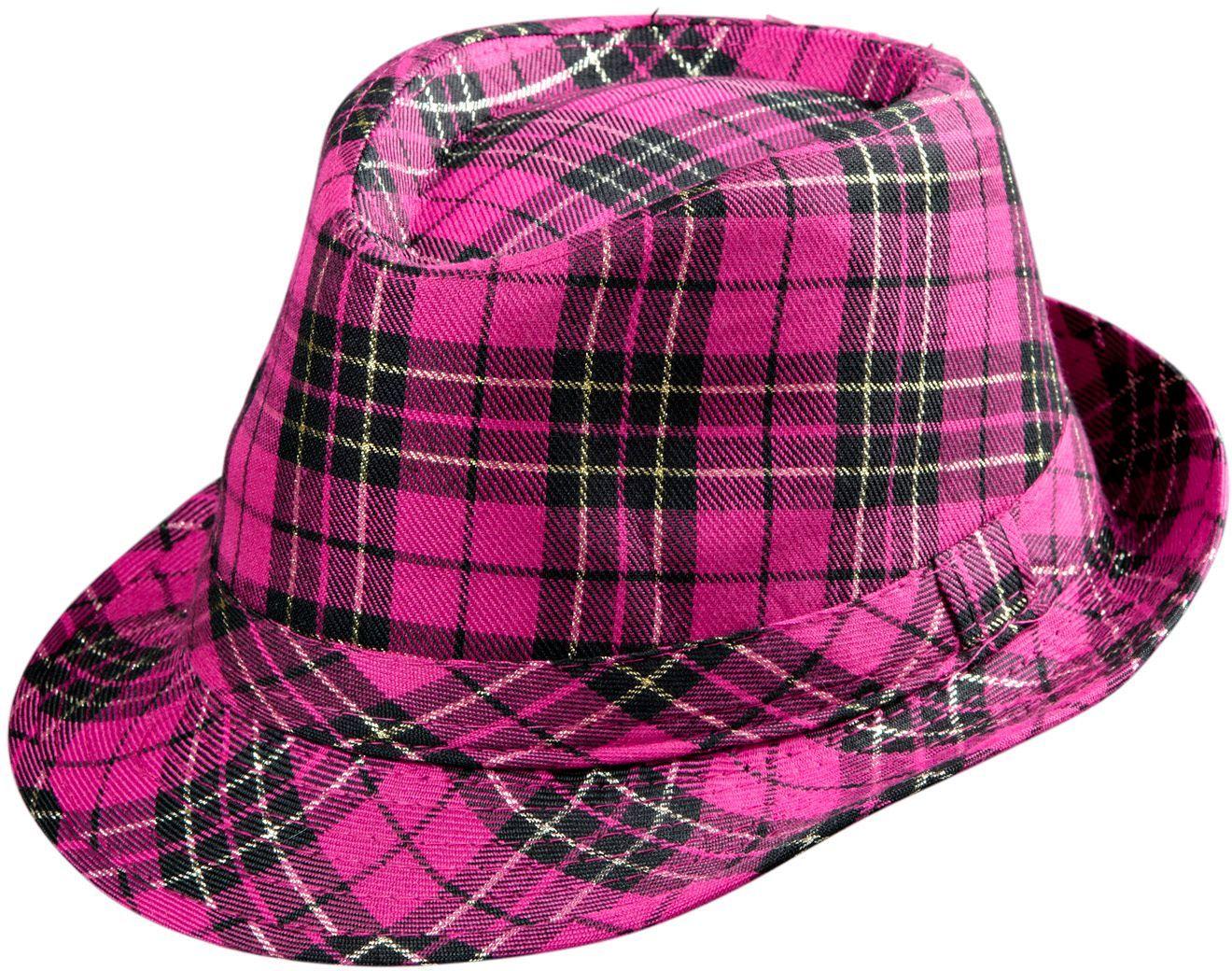Roze tartan fedora